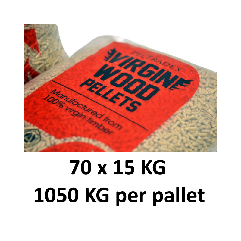 Peltrade's Virgin Wood Houtpellets (100% virgin timber). ENplus A1 gecertificeerd.